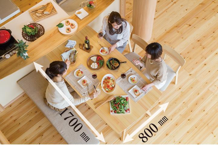 天然木の家具 赤松のH型ダイニングテーブル